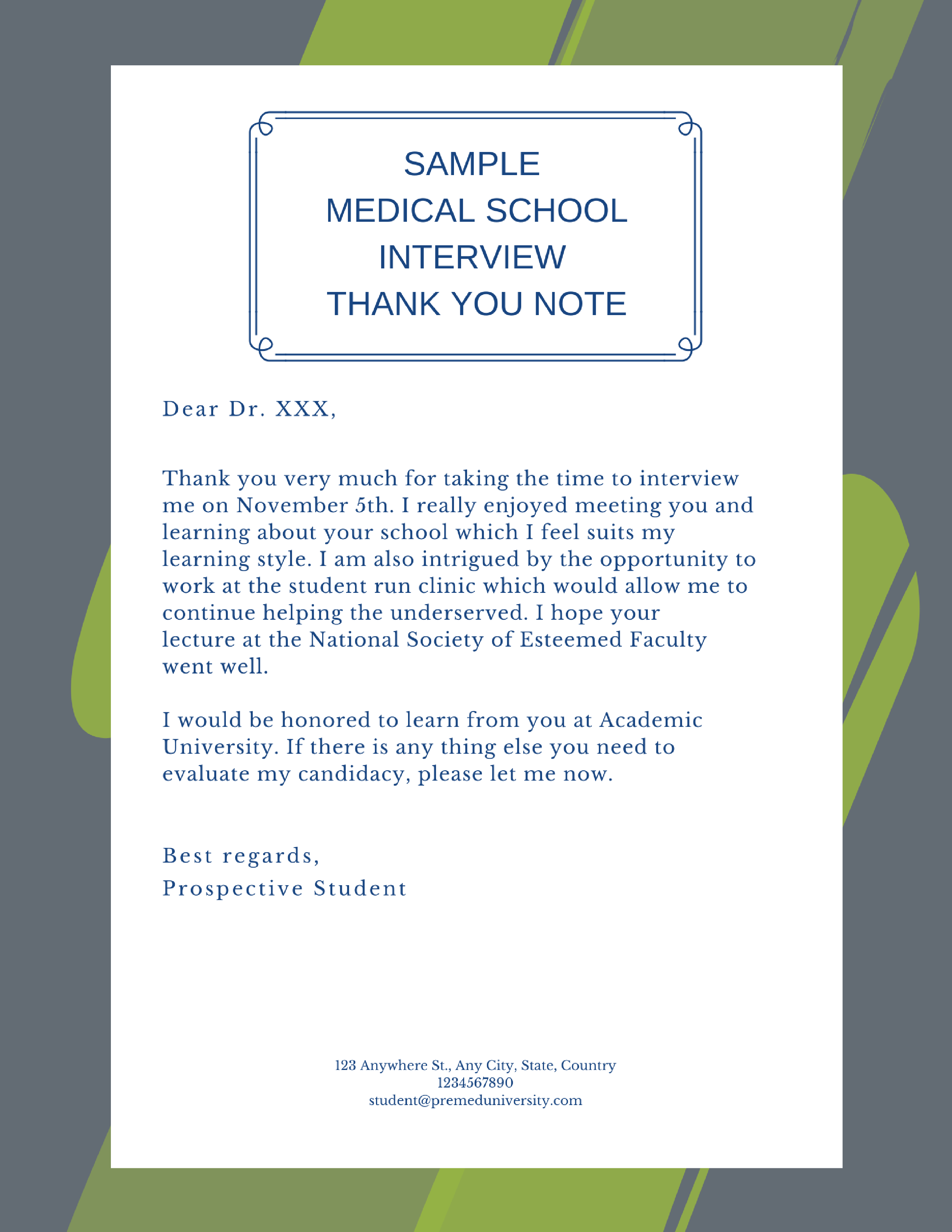 handwritten or emailed thank you notes for medical school interviews