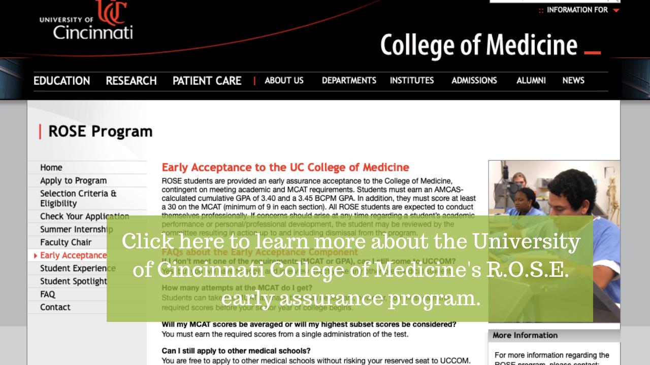 University of Cincinnati College of Medicine R.O.S.E. Early Assurance Program